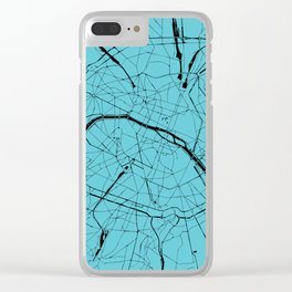 Paris France Minimal Street Map - Turquoise on Black Clear iPhone Case