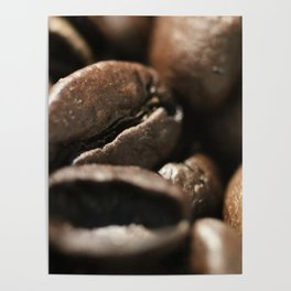 Coffee beans macro photo, fine art, still life, interior decoration, for bar & restaurant, Pub sign Poster