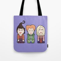 hocus pocus Tote Bags featuring Hocus Pocus by Big Purple Glasses