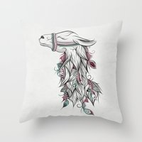 llama Throw Pillows featuring Llama by LouJah