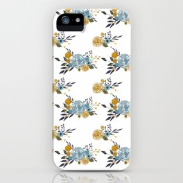 Roses and Billy Buttons - White Background Floral Pattern - Mustard Yellow / Navy / Blue iPhone Case