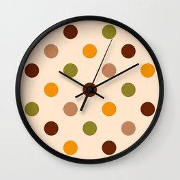 Retro 70s medium polka dots orange brown beige background Wall Clock