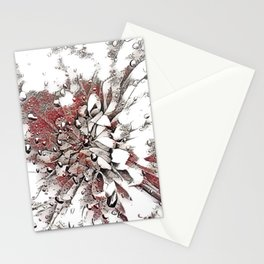 Waterdrop Flower  Grey Coral and White Sketch Stationery Cards