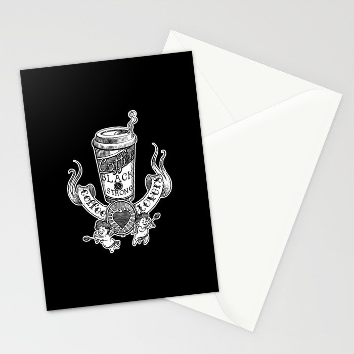 Coffee Lovers (black version) Stationery Cards