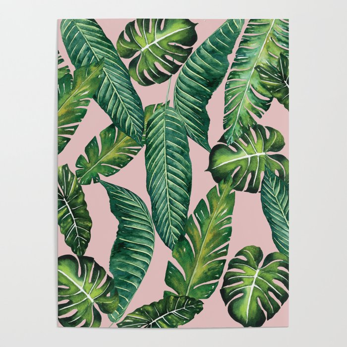 Jungle Leaves Banana Monstera Ii Pink Society6 Poster