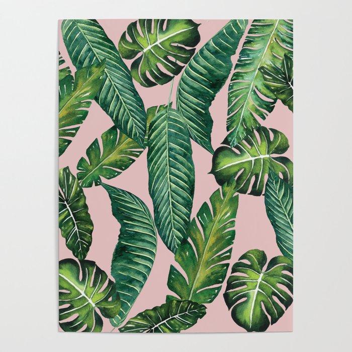 Jungle Leaves, Banana, Monstera II Pink #society6 Poster