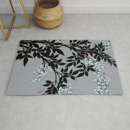 TREE BRANCHES BLACK AND GRAY WITH BLUE BERRIES Rug