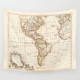 North and South America Map (1754) Wall Tapestry