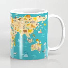 Animal map for kid. World vector poster for children, cute illustrated Coffee Mug