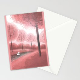 Pink Trees Stationery Cards