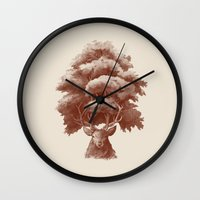 thrones Wall Clocks featuring Old Growth  by Terry Fan