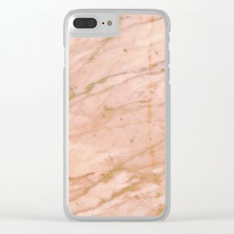 Pink marble with gold veins Clear iPhone Case