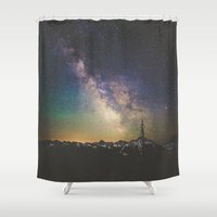 milky way Shower Curtains featuring Milky Way IV by Luke Gram