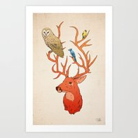 antlers Art Prints featuring Antlers by Jonathan Sims