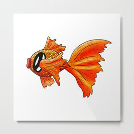 Mr Goldfish, Swimming His Way to the Weekend Metal Print