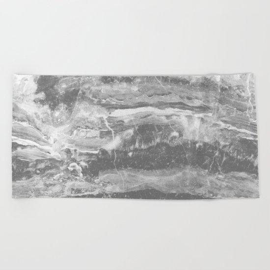 Real Gray Marble Beach Towel