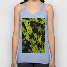 Fractured Warning - Black and yellow, abstract, textured painting Unisex Tank Top