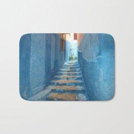 Narrow Blue Stairway in Morocco Bath Mat