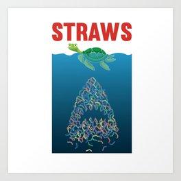 Straws Turtle Shark Straw Plastic Art Print