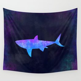 SHARK IN SPACE // Animal Graphic Art // Watercolor Canvas Painting // Modern Minimal Cute Wall Tapestry