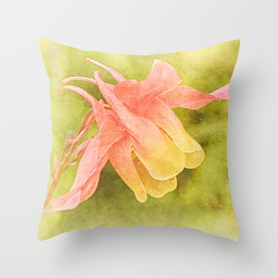 Soft Aquilegia Throw Pillow