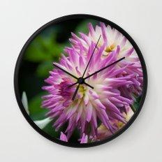 Pink & White Dahlia Wall Clock