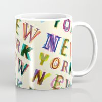 new york Mugs featuring New York New York by Fimbis