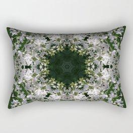 Botanical lace, white lilac mandala /kaleidoscope Rectangular Pillow