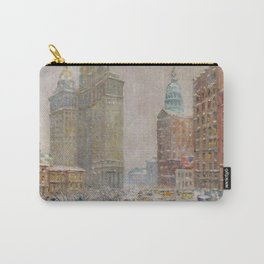 City Hall Park, The New York Scene, NYC skyline winter landscape painting by Guy Carleton Wiggins Carry-All Pouch