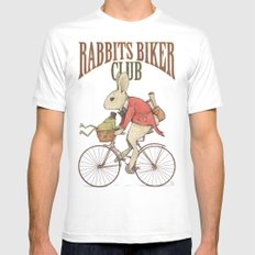 Rabbits Biker Club MEDIUM White Mens Fitted Tee