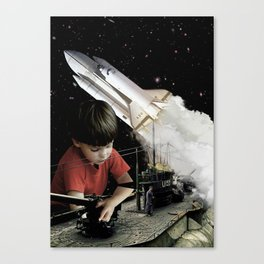 Small kids with big toys Canvas Print