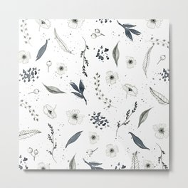 Grey Flowers Metal Print