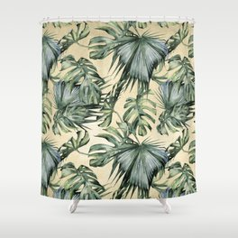 Palm Leaves Classic Linen Shower Curtain