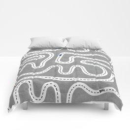 Grey Speed Racers Comforters