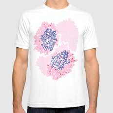Pink Floral spark White MEDIUM Mens Fitted Tee