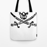 8bit Tote Bags featuring 8bit piracy  by cadaver138