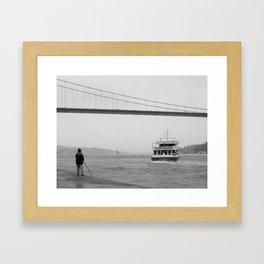 fishing on the bosphorus Framed Art Print