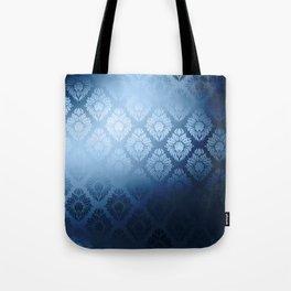 """Navy blue Damask Pattern"" Tote Bag"