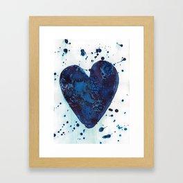 Splattered blue heart Framed Art Print