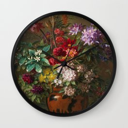 Still Life with Flowers in a Greek Vase: Allegory of Spring by Georgius Jacobus Johannes van Os Wall Clock