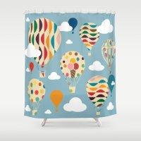 ballon Shower Curtains featuring hot air ballon by BruxaMagica
