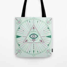 Evil Eye Mandala – Mint Tote Bag