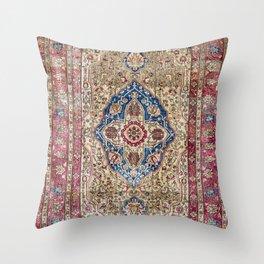 Antique Silk Kashan Persian Rug Print Throw Pillow