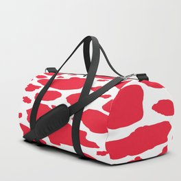 red and white animal print cow spots Duffle Bag