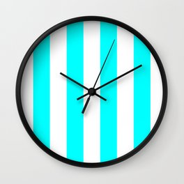 Vertical Stripes - White and Aqua Cyan Wall Clock