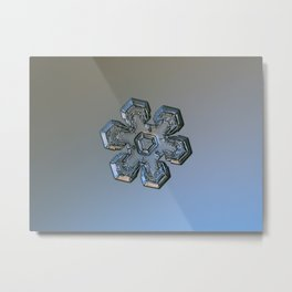 Real snowflake macro photo - Massive silver Metal Print