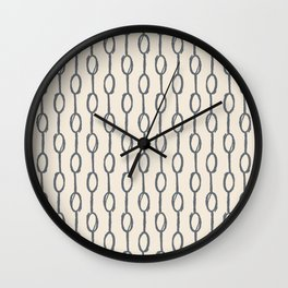 Pebble Dot Stripes Gray on Rose Petal Cream Wall Clock