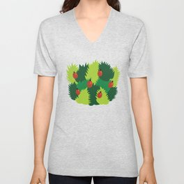 Green Leaves And Ladybugs In Spring Unisex V-Neck