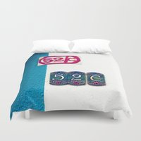 number Duvet Covers featuring door number by gzm_guvenc