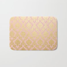 Princess like - Luxury pink gold ornamental damask pattern Bath Mat